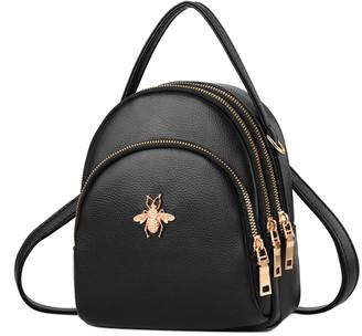 Ella & Elly Women's Backpacks Black - Black Bee-Accent Mini Backpack