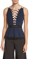 Jonathan Simkhai Lace-Up Crepe Peplum Top, Navy Combo