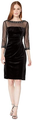 Tahari ASL Stretch Velvet Cocktail Dress with Illusion Mesh and Beaded Sleeves and Neckline (Black) Women's Clothing