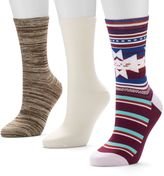UNIONBAY 3-pk. Printed Crew Socks - Women
