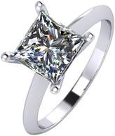 Moissanite Platinum 2 Carat Princess Cut Solitaire Ring