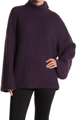 Nanushka Wool Blend Wide Sleeve Turtleneck Sweater