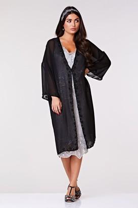 Gatsbylady London Tara Soft Mesh Long Jacket in Black