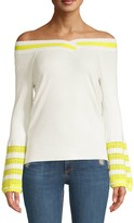 Dh New York Varsity Stripe Off-The-Shoulder Bell Sleeve Sweater