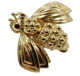 Tiffany & Co. 18K Yellow Gold & Ruby Bee Pin Brooch