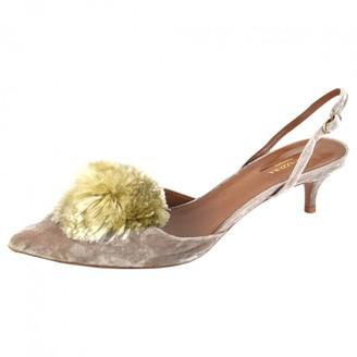 Aquazzura Powder Puff Beige Velvet Heels