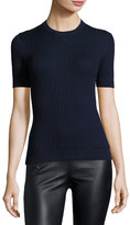 Courreges Short-Sleeve Ribbed Knit Top, Navy