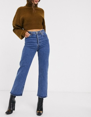 Levi's Ribcage straight leg ankle grazer jeans in darkwash blue