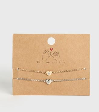 New Look 2 Pack Diamante Heart Charm Chokers
