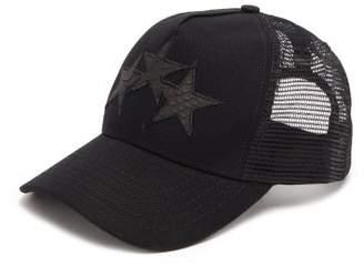 Amiri Star-applique Canvas And Mesh Trucker Cap - Mens - Black