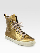 Burberry Northfield Metallic Leather Lace-Up Sneakers