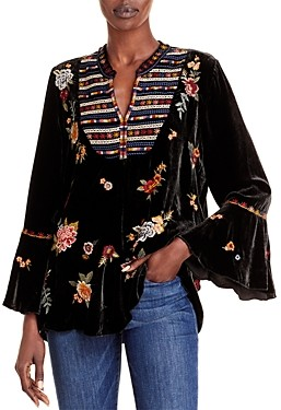 Johnny Was Sisilia Embroidered Velvet Peasant Blouse