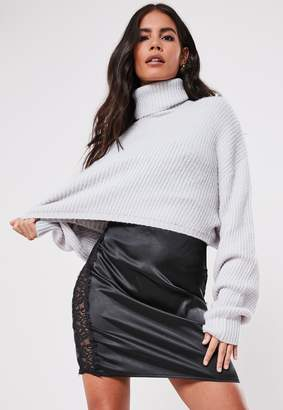 Missguided Grey Cropped Roll Neck Jumper