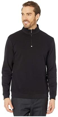 Bugatchi Arnulfo Long Sleeve Knit 1/2 Zip Mock Neck (Black) Men's Clothing