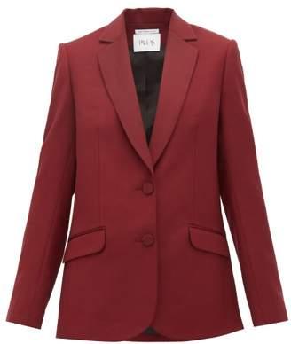 Pallas X Claire Thomson Jonville X Claire Thomson-jonville - Faulkner Single-breasted Wool-crepe Blazer - Womens - Burgundy