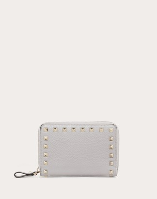 Valentino Rockstud Grainy Calfskin Zippered Wallet Women Pastel Gray 100% Pelle Di Vitello - Bos Taurus OneSize
