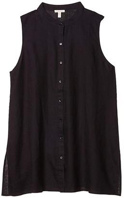 Eileen Fisher Mandarin Collar Sleeveless Shirt (Black) Women's Clothing