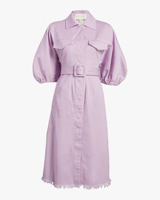 Divine Heritage Bell-Sleeve Shirt Dress