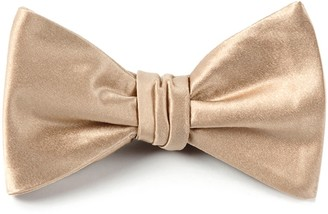 Tie Bar Solid Satin Light Champagne Bow Tie