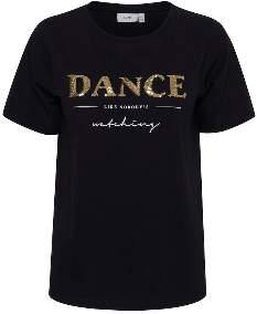 Ichi Black Small Sleeves Sequined Dance T Shirt - cotton   Extra Large   black - Black/Black