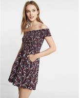 Express Floral Smocked Off-the-shoulder Fit And Flare Dress