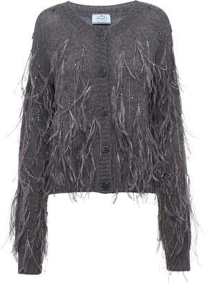 Prada Feather-Embellished Knitted Cardigan