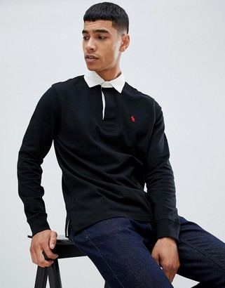 Polo Ralph Lauren long sleeve rugby polo player logo in black