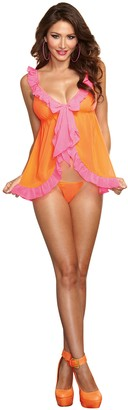 Dreamgirl Women's Sexy Vintage Boudoir Chiffon Babydoll with Flirty Ruffle Details and Matching Thong