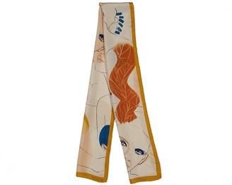 The Pathline Yellow Mustard Printed Artistic Silk Long Scarf