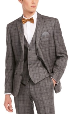 Bar III Men's Slim-Fit Gray/Brown Plaid Suit Separate Jacket, Created for Macy's