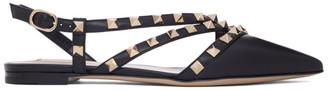 Valentino Black Garavani Double Strap Rockstud Slingback Ballerina Flats