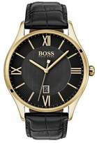 HUGO BOSS Governor Textured Leather-Strap Watch