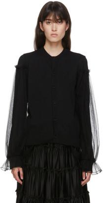 Noir Kei Ninomiya Black Tulle Sleeve Cardigan