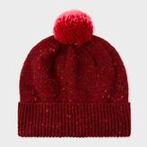 Paul Smith Women's Dark Red Flecked-Wool Bobble Hat