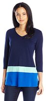 NY Collection Women's 3/4 Sleeve V-Neck Color Block Top