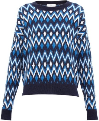 Allude Geometric-jacquard Wool-blend Sweater - Womens - Blue Multi