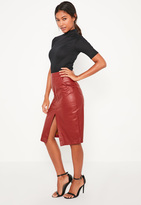 Missguided Burgundy Faux Leather Midi Pocket Skirt
