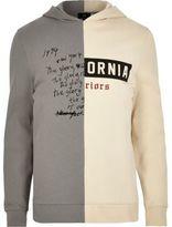 River Island Mens Grey contrast print spliced hoodie