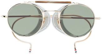 Thom Browne Eyewear Multicoloured Round Frame Gold Plated Sunglasses