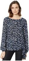 MICHAEL Michael Kors Garden Tie Long Sleeve Top (Chambray) Women's T Shirt