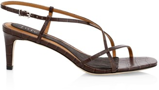 Joie Malou Croc-Embossed Leather Slingback Sandals