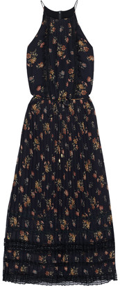 Zimmermann Pleated Lace-trimmed Floral-print Chiffon Midi Dress