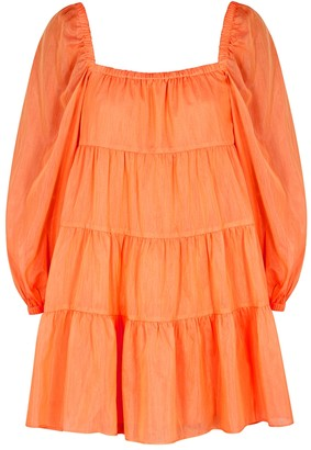 Alice + Olivia Rowen Orange Cotton-blend Mini Dress