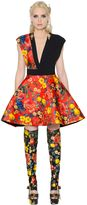 Fausto Puglisi Floral Print Silk Twill & Crepe Dress