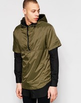 Pull&Bear Lightweight Overhead Jacket With Half-Zip In Khaki
