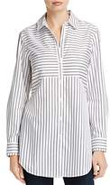 Foxcroft Gina Directional Stripe Button Down Tunic