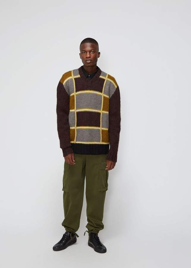 Marni Mix Check V-Neck Sweater