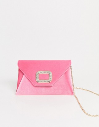 Asos DESIGN rhinestone buckle clutch bag with detachable strap