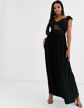 Bardot Asos Design ASOS DESIGN Fuller Bust premium lace and pleat maxi dress-Black
