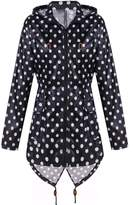 Meaneor Women's Long Sleeve Fishtail Dot Print Cute Raincoat Waterproof Jacket Sky Blue L